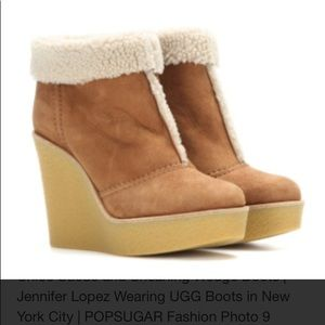 Chloe Suede and Shearling Wedge Boots